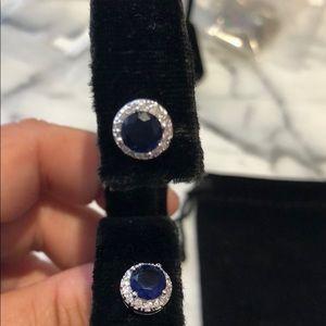 Sapphire Cubic Zirconia Halo Stud Earrings,NWT